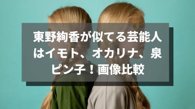 東野絢香が似てる芸能人はイモト、オカリナ、泉ピン子!画像比較!